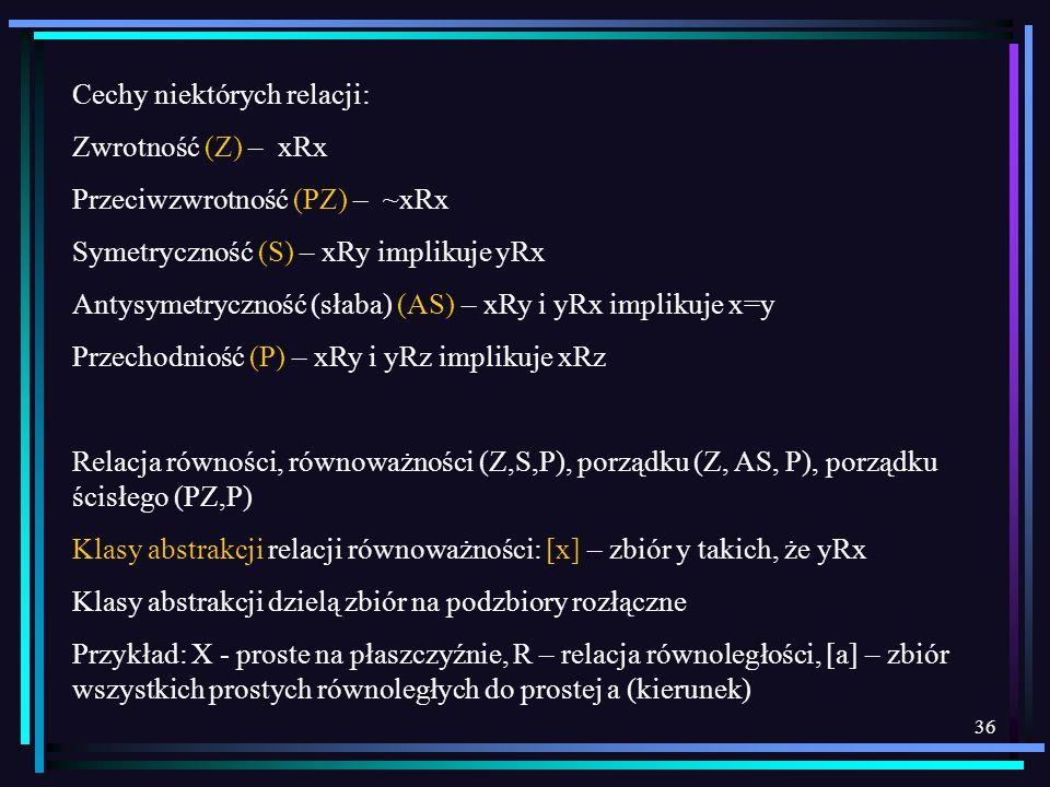 36 Cechy niektórych relacji: Zwrotność (Z) – xRx Przeciwzwrotność (PZ) – ~xRx Symetryczność (S) – xRy implikuje yRx Antysymetryczność (słaba) (AS) – x