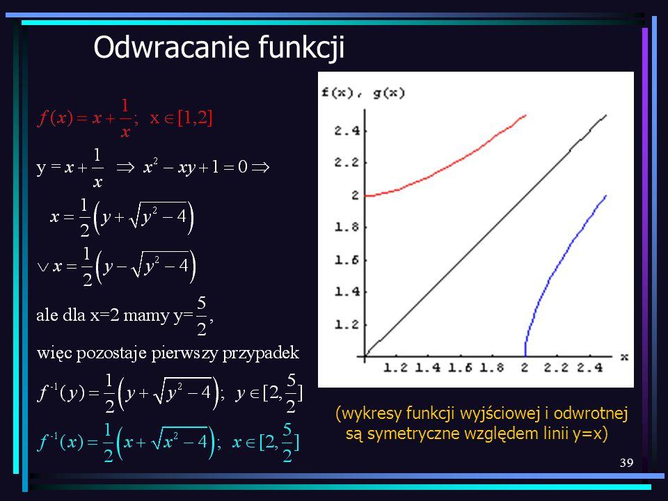 39 Odwracanie funkcji (wykresy funkcji wyjściowej i odwrotnej są symetryczne względem linii y=x)