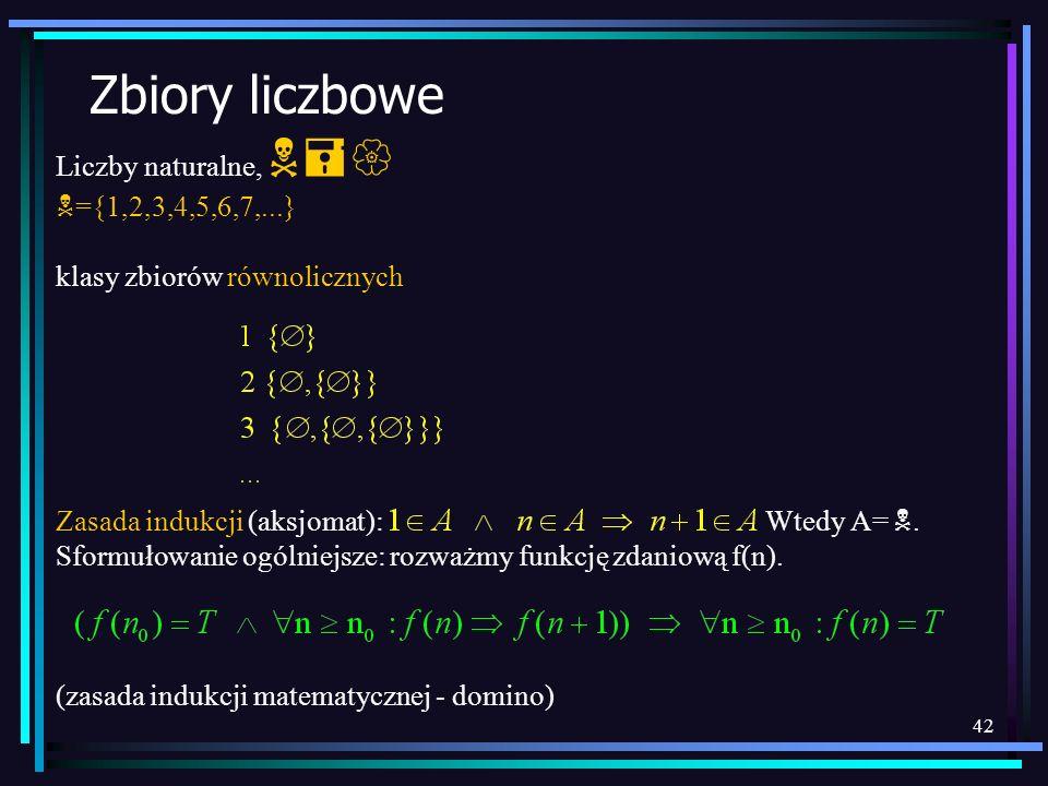 42 Zbiory liczbowe Liczby naturalne, N={ N ={1,2,3,4,5,6,7,...} klasy zbiorów równolicznych Zasada indukcji (aksjomat): Wtedy A= N. Sformułowanie ogól