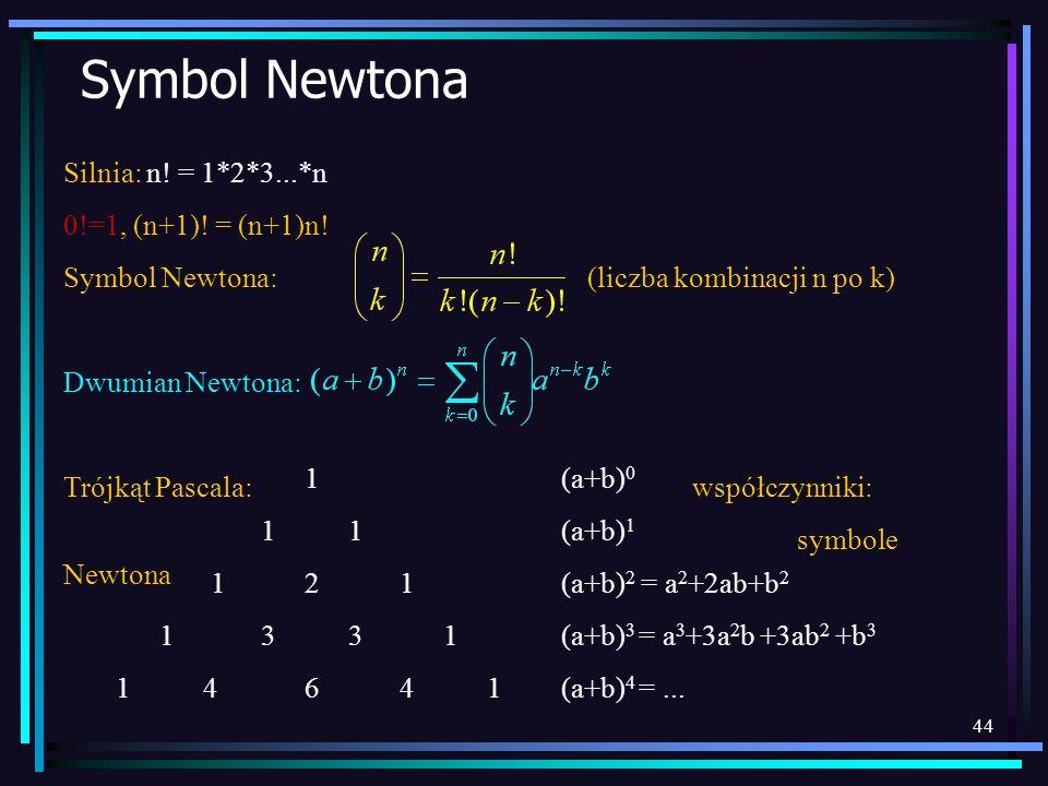 44 Symbol Newtona Silnia: n! = 1*2*3...*n 0!=1, (n+1)! = (n+1)n! Symbol Newtona: (liczba kombinacji n po k) Dwumian Newtona: Trójkąt Pascala: współczy