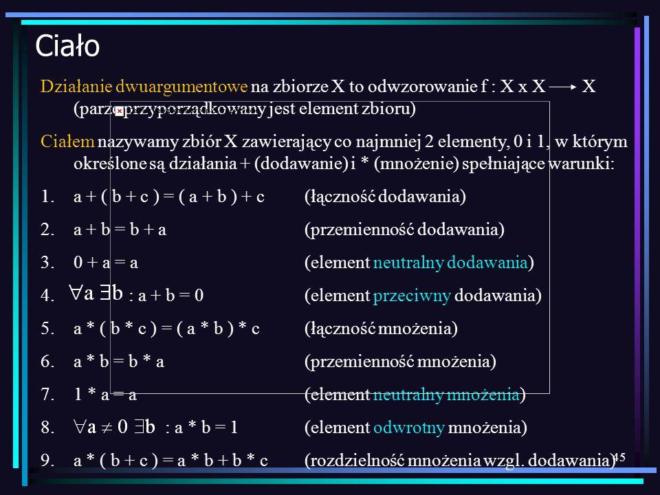 45 Ciało Działanie dwuargumentowe na zbiorze X to odwzorowanie f : X x X X (parze przyporządkowany jest element zbioru) Ciałem nazywamy zbiór X zawier