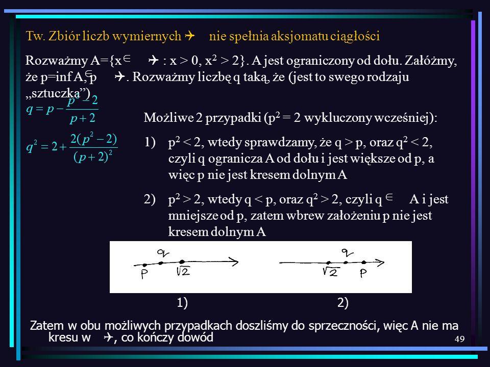 49 Tw. Zbiór liczb wymiernych Q nie spełnia aksjomatu ciągłości Rozważmy A={x Q : x > 0, x 2 > 2}. A jest ograniczony od dołu. Załóżmy, że p=inf A, p