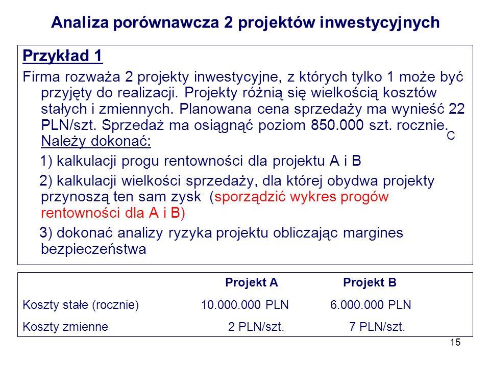 15 Analiza porównawcza 2 projektów inwestycyjnych Przykład 1 Firma rozważa 2 projekty inwestycyjne, z których tylko 1 może być przyjęty do realizacji.