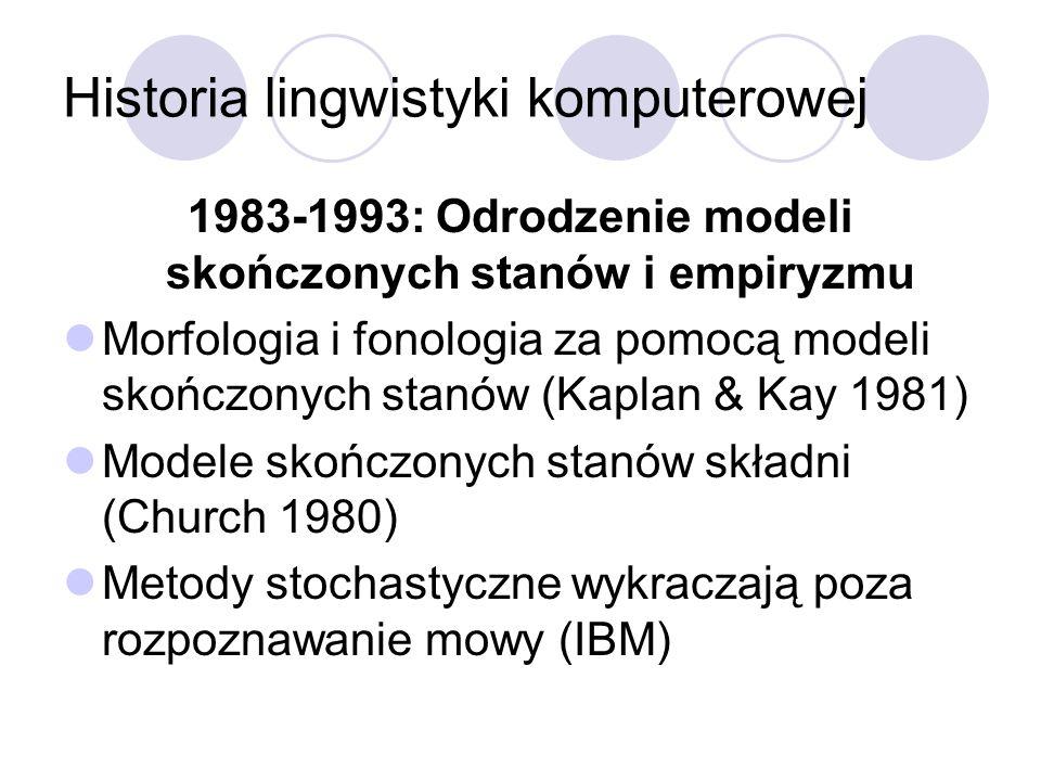 Historia lingwistyki komputerowej 1983-1993: Odrodzenie modeli skończonych stanów i empiryzmu Morfologia i fonologia za pomocą modeli skończonych stan