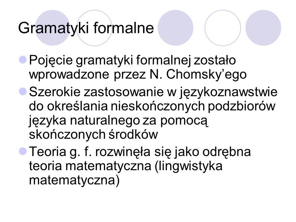 Gramatyki formalne Pojęcie gramatyki formalnej zostało wprowadzone przez N. Chomskyego Szerokie zastosowanie w językoznawstwie do określania nieskończ