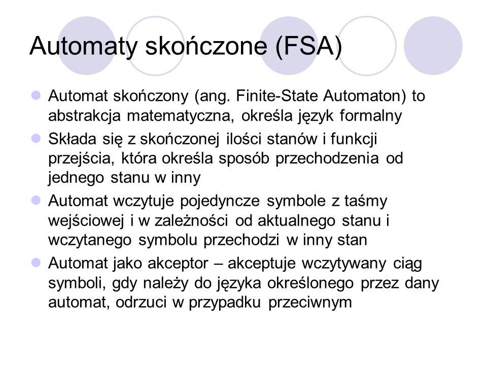 Automaty skończone (FSA) Automat skończony (ang. Finite-State Automaton) to abstrakcja matematyczna, określa język formalny Składa się z skończonej il