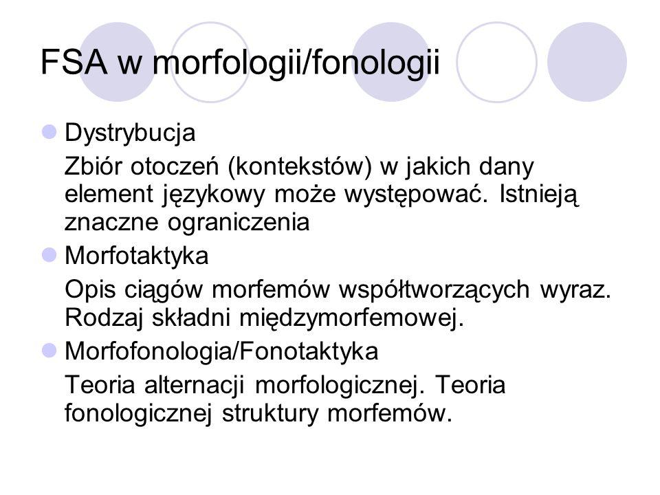 FSA w morfologii/fonologii Dystrybucja Zbiór otoczeń (kontekstów) w jakich dany element językowy może występować. Istnieją znaczne ograniczenia Morfot