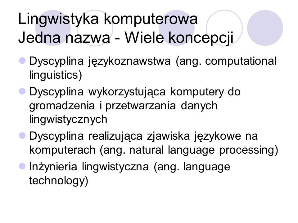 Lingwistyka komputerowa Jedna nazwa - Wiele koncepcji Dyscyplina językoznawstwa (ang. computational linguistics) Dyscyplina wykorzystująca komputery d