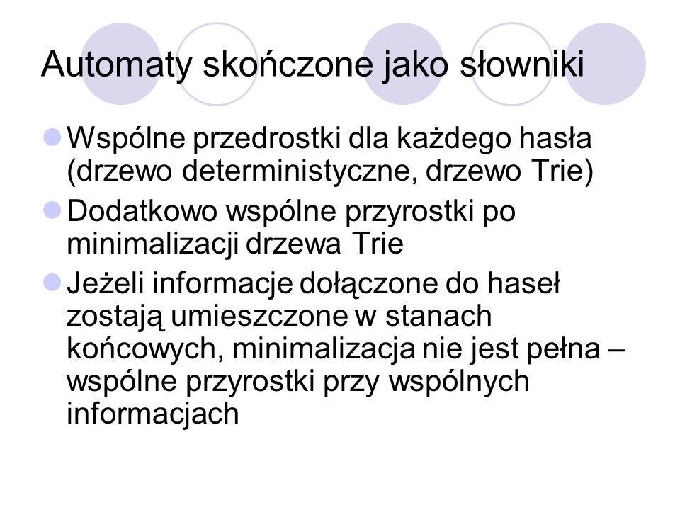 Automaty skończone jako słowniki Wspólne przedrostki dla każdego hasła (drzewo deterministyczne, drzewo Trie) Dodatkowo wspólne przyrostki po minimali