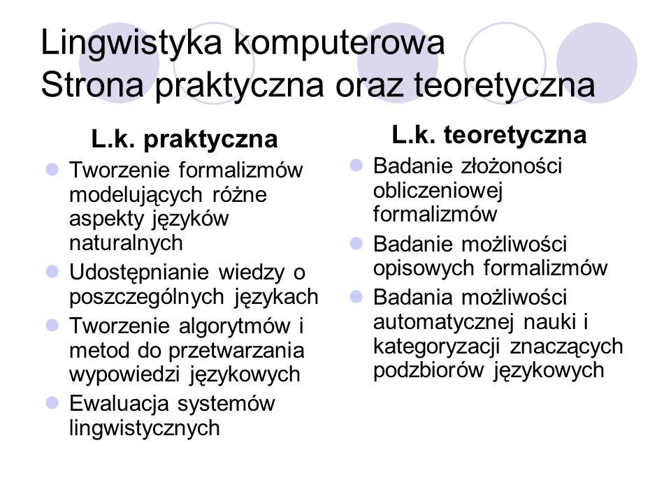 Lingwistyka komputerowa Strona praktyczna oraz teoretyczna L.k. praktyczna Tworzenie formalizmów modelujących różne aspekty języków naturalnych Udostę