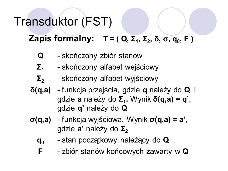 Transduktor (FST) Zapis formalny: T = ( Q, Σ 1, Σ 2, δ, σ, q 0, F ) Q- skończony zbiór stanów Σ1Σ1 - skończony alfabet wejściowy Σ2Σ2 - skończony alfa