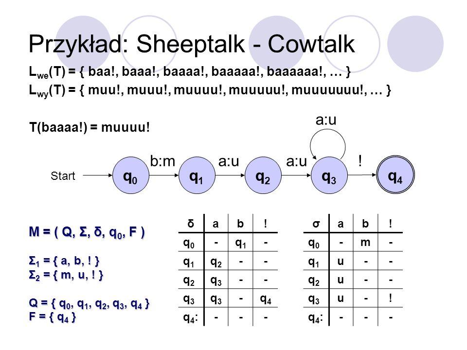 Przykład: Sheeptalk - Cowtalk σab! q0q0 -m- q1q1 u-- q2q2 u-- q3q3 u-! q4:q4:--- q0q0 Start b:ma:u ! L we (T) = { baa!, baaa!, baaaa!, baaaaa!, baaaaa