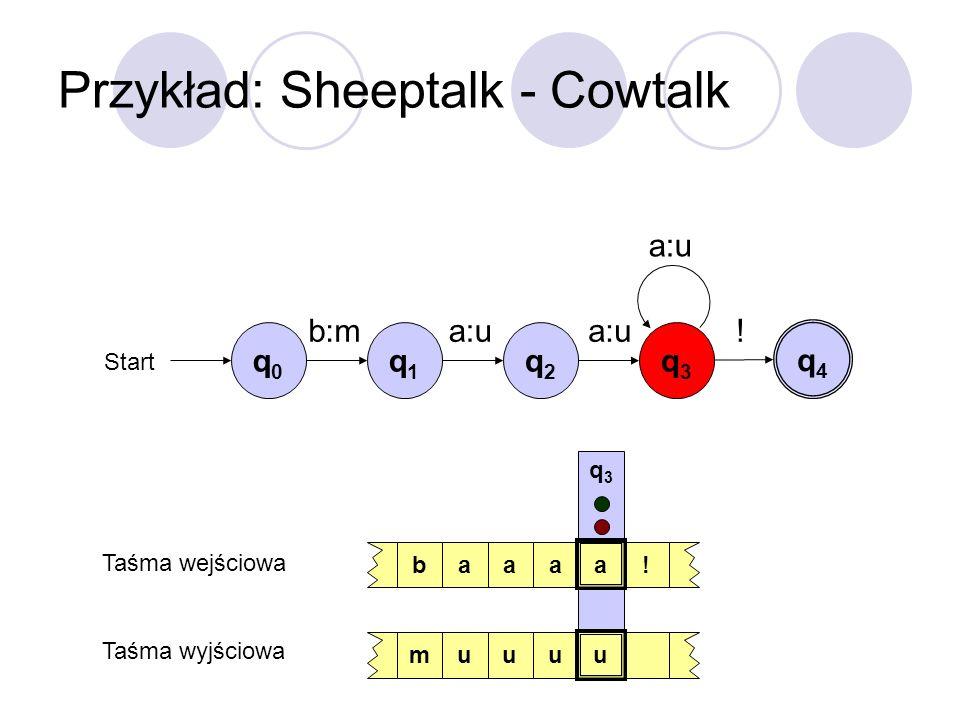 Przykład: Sheeptalk - Cowtalk q0q0 Start b:ma:u ! q1q1 q2q2 q3q3 q4q4 baaaa! muuuu q3q3 Taśma wejściowa Taśma wyjściowa