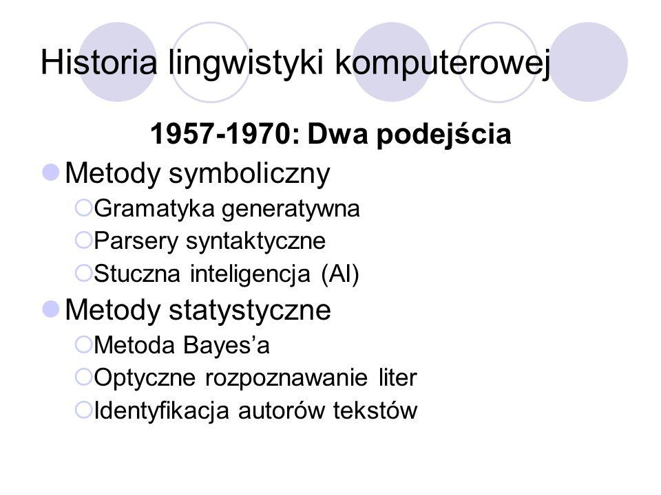 Historia lingwistyki komputerowej 1957-1970: Dwa podejścia Metody symboliczny Gramatyka generatywna Parsery syntaktyczne Stuczna inteligencja (AI) Met