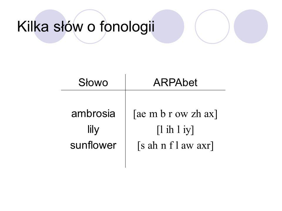 Kilka słów o fonologii SłowoARPAbet ambrosia lily sunflower [ae m b r ow zh ax] [l ih l iy] [s ah n f l aw axr]