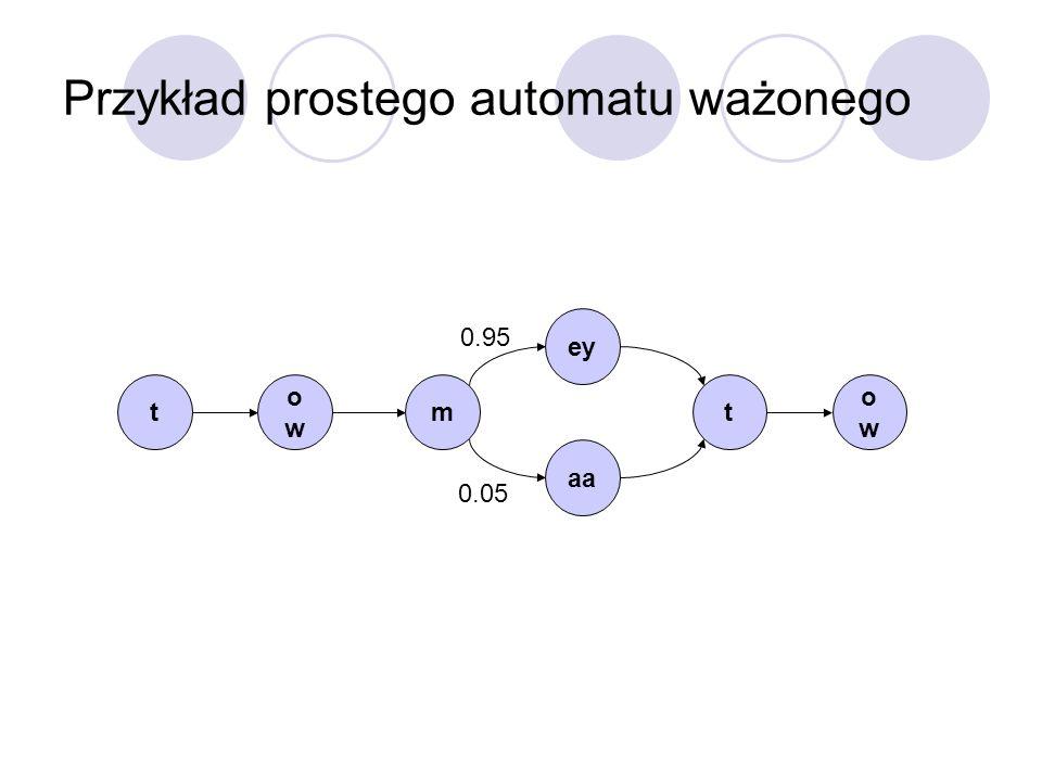 Przykład prostego automatu ważonego t owow m aa t owow ey 0.95 0.05