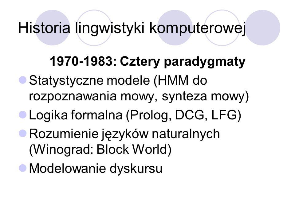 Historia lingwistyki komputerowej 1970-1983: Cztery paradygmaty Statystyczne modele (HMM do rozpoznawania mowy, synteza mowy) Logika formalna (Prolog,