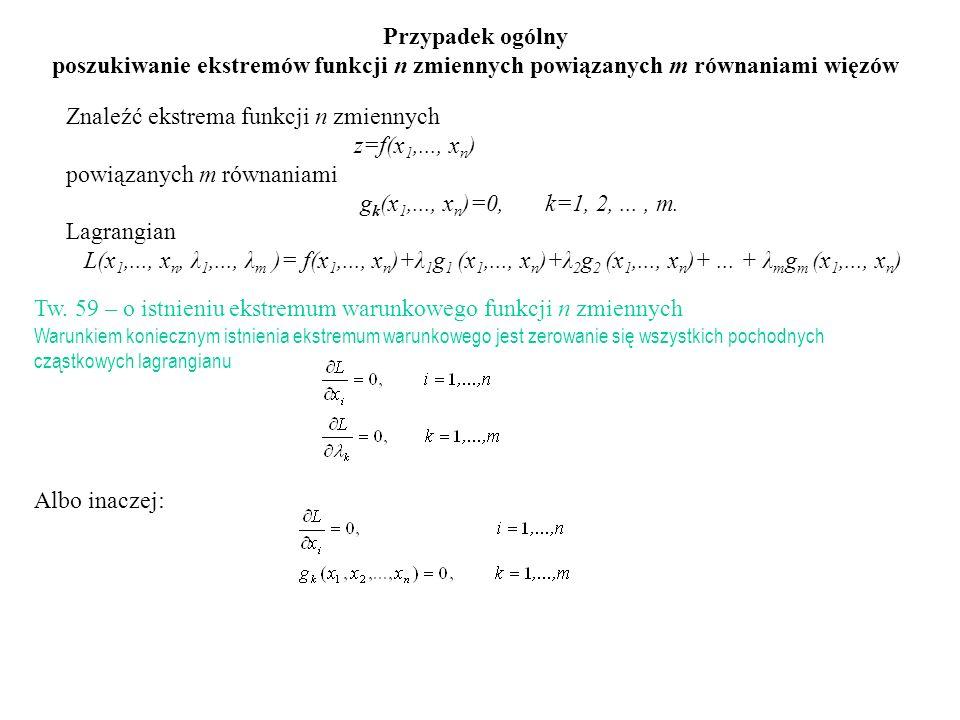 Znaleźć ekstrema funkcji n zmiennych z=f(x 1,..., x n ) powiązanych m równaniami g k (x 1,..., x n )=0, k=1, 2,..., m. Lagrangian L(x 1,..., x n, λ 1,