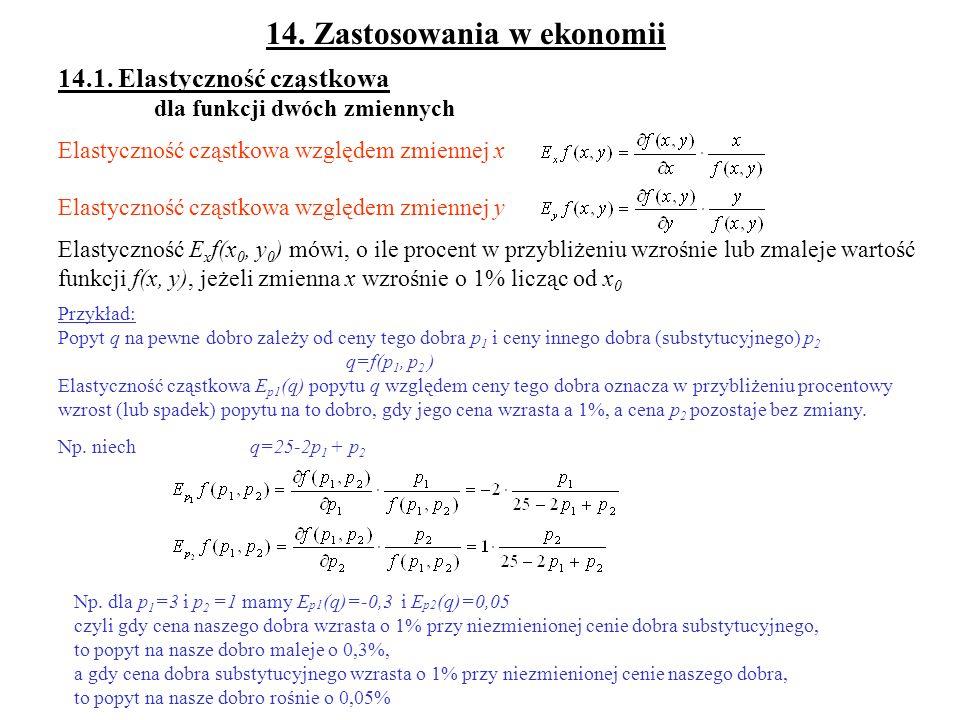 14. Zastosowania w ekonomii 14.1. Elastyczność cząstkowa dla funkcji dwóch zmiennych Elastyczność cząstkowa względem zmiennej x Elastyczność cząstkowa