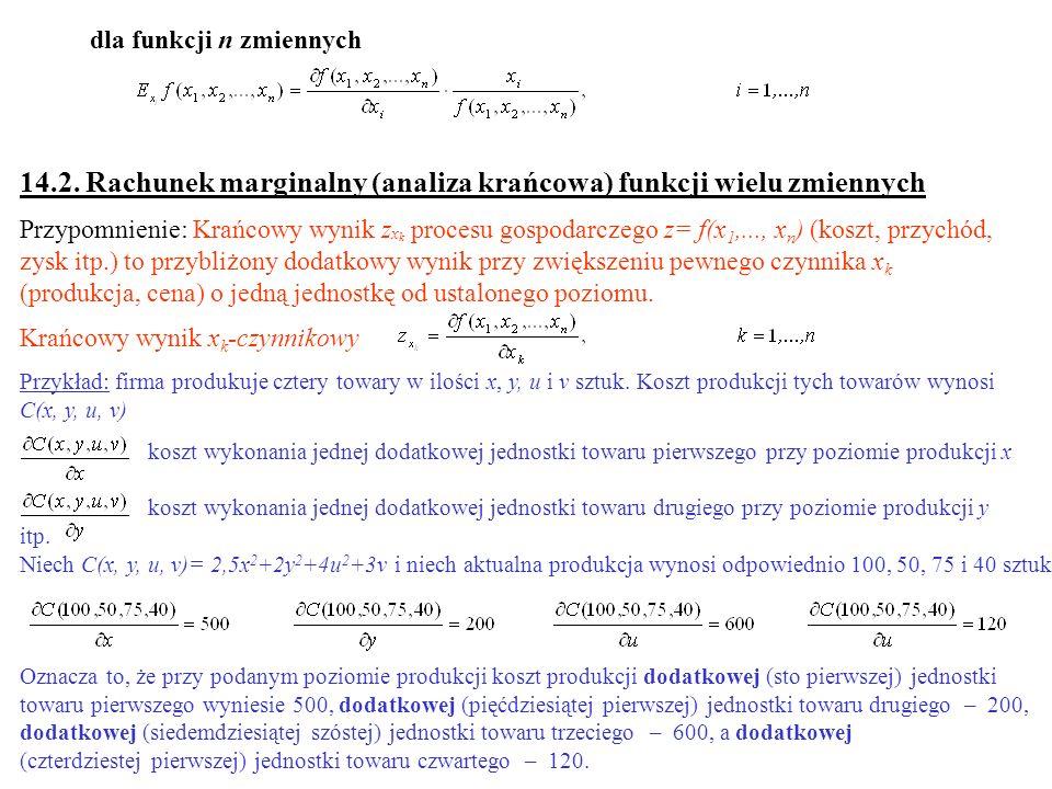 dla funkcji n zmiennych 14.2. Rachunek marginalny (analiza krańcowa) funkcji wielu zmiennych Przypomnienie: Krańcowy wynik z x k procesu gospodarczego