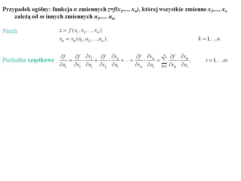 Przypadek ogólny: funkcja n zmiennych z=f(x 1,..., x n ), której wszystkie zmienne x 1,..., x n zależą od m innych zmiennych u 1,..., u m Niech Pochod