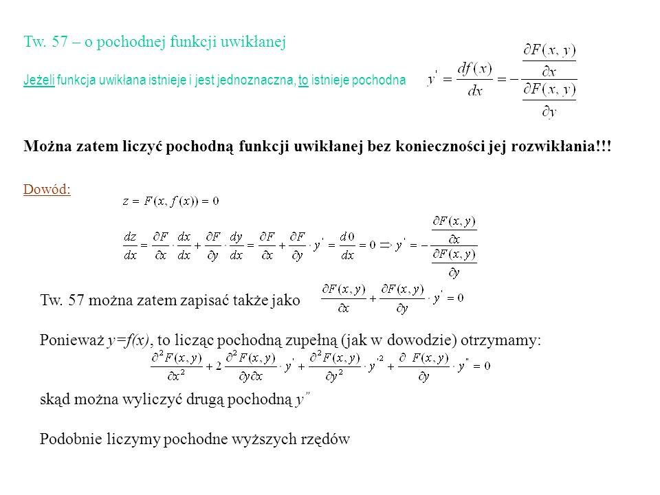 Tw. 57 można zatem zapisać także jako Ponieważ y=f(x), to licząc pochodną zupełną (jak w dowodzie) otrzymamy: skąd można wyliczyć drugą pochodną y Pod