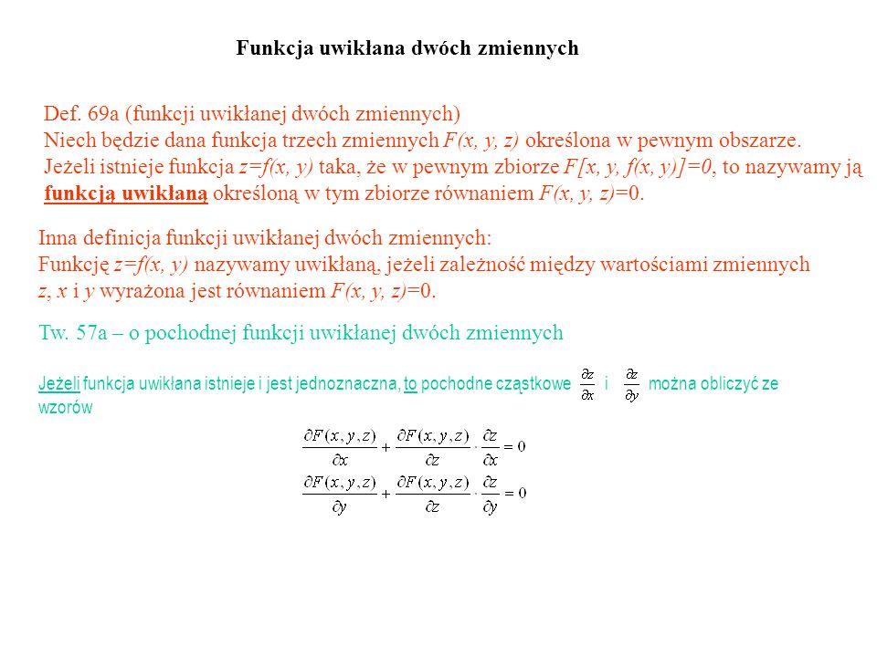 Def. 69a (funkcji uwikłanej dwóch zmiennych) Niech będzie dana funkcja trzech zmiennych F(x, y, z) określona w pewnym obszarze. Jeżeli istnieje funkcj