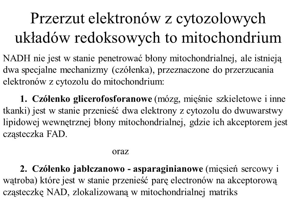 Przerzut elektronów z cytozolowych układów redoksowych to mitochondrium NADH nie jest w stanie penetrować błony mitochondrialnej, ale istnieją dwa spe