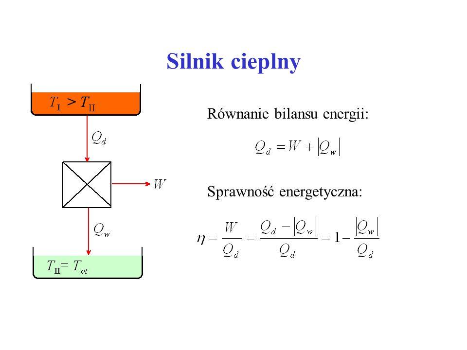 Silnik cieplny Równanie bilansu energii: Sprawność energetyczna: > T II
