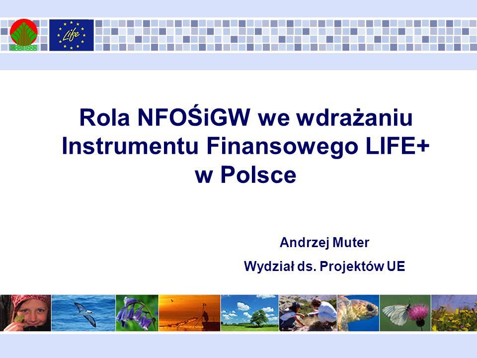 Zadania NFOŚiGW wynikające z Porozumienia MŚ NFOŚiGW z dnia 5 września 2008 roku: Krajowy Punkt Kontaktowy LIFE+ (rola pośrednika pomiędzy wnioskodawcą a KE) Krajowa Instytucja Wdrażająca (odpowiedzialność za wdrażanie Instrumentu Finansowego LIFE+ w Polsce)