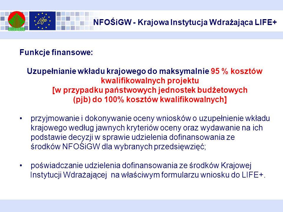 NFOŚiGW - Krajowa Instytucja Wdrażająca LIFE+ Funkcje finansowe: Uzupełnianie wkładu krajowego do maksymalnie 95 % kosztów kwalifikowalnych projektu [