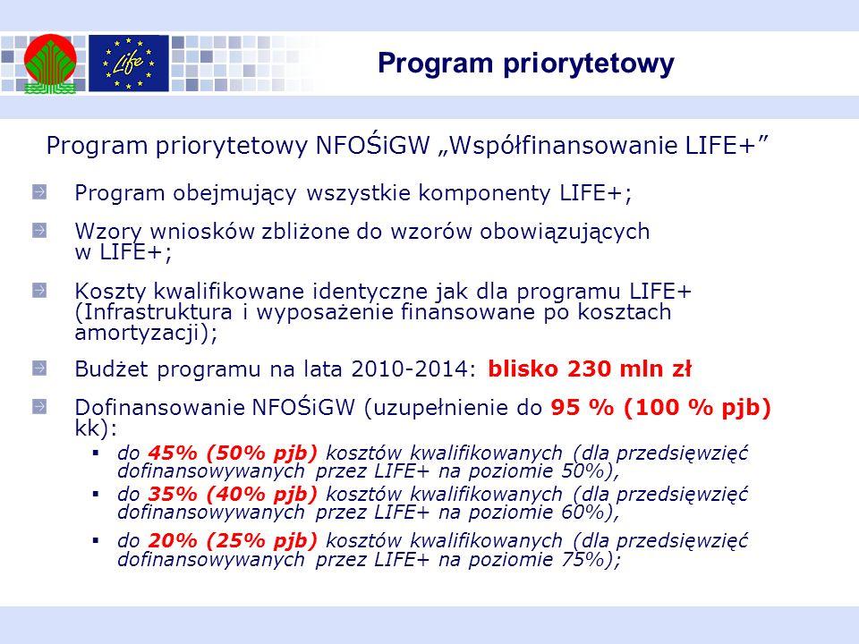 Program obejmujący wszystkie komponenty LIFE+; Wzory wniosków zbliżone do wzorów obowiązujących w LIFE+; Koszty kwalifikowane identyczne jak dla progr