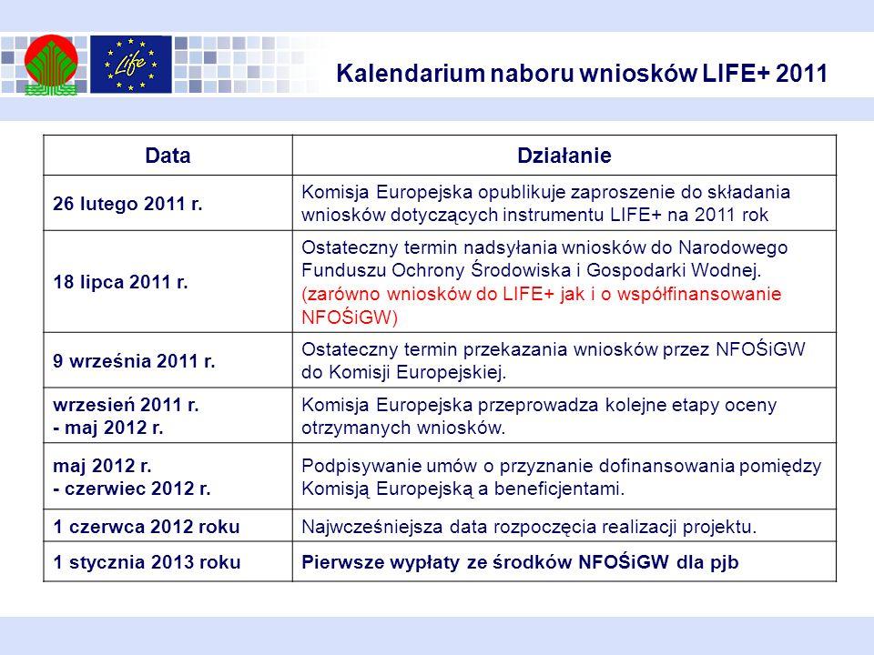 Kalendarium naboru wniosków LIFE+ 2011 DataDziałanie 26 lutego 2011 r. Komisja Europejska opublikuje zaproszenie do składania wniosków dotyczących ins