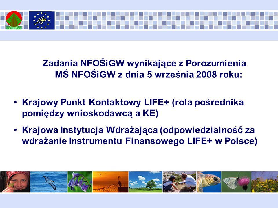 NFOŚiGW - Krajowa Instytucja Wdrażająca LIFE+ Funkcje finansowe: Uzupełnianie wkładu krajowego do maksymalnie 95 % kosztów kwalifikowalnych projektu [w przypadku państwowych jednostek budżetowych (pjb) do 100% kosztów kwalifikowalnych] przyjmowanie i dokonywanie oceny wniosków o uzupełnienie wkładu krajowego według jawnych kryteriów oceny oraz wydawanie na ich podstawie decyzji w sprawie udzielenia dofinansowania ze środków NFOŚiGW dla wybranych przedsięwzięć; poświadczanie udzielenia dofinansowania ze środków Krajowej Instytucji Wdrażającej na właściwym formularzu wniosku do LIFE+.