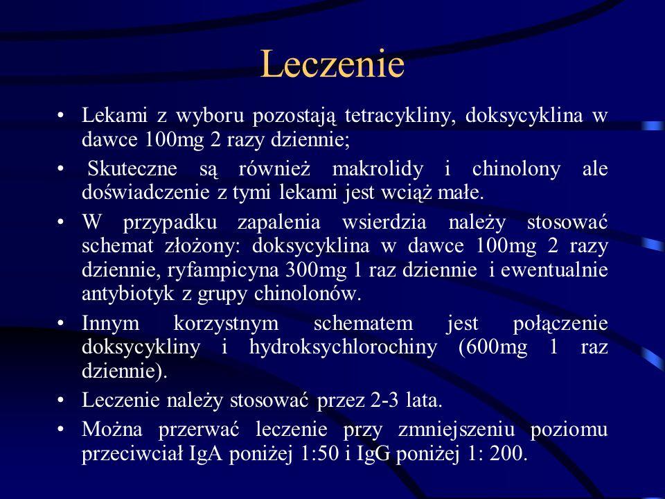 Leczenie Lekami z wyboru pozostają tetracykliny, doksycyklina w dawce 100mg 2 razy dziennie; Skuteczne są również makrolidy i chinolony ale doświadcze