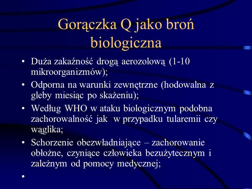 Gorączka Q jako broń biologiczna Duża zakaźność drogą aerozolową (1-10 mikroorganizmów); Odporna na warunki zewnętrzne (hodowalna z gleby miesiąc po s