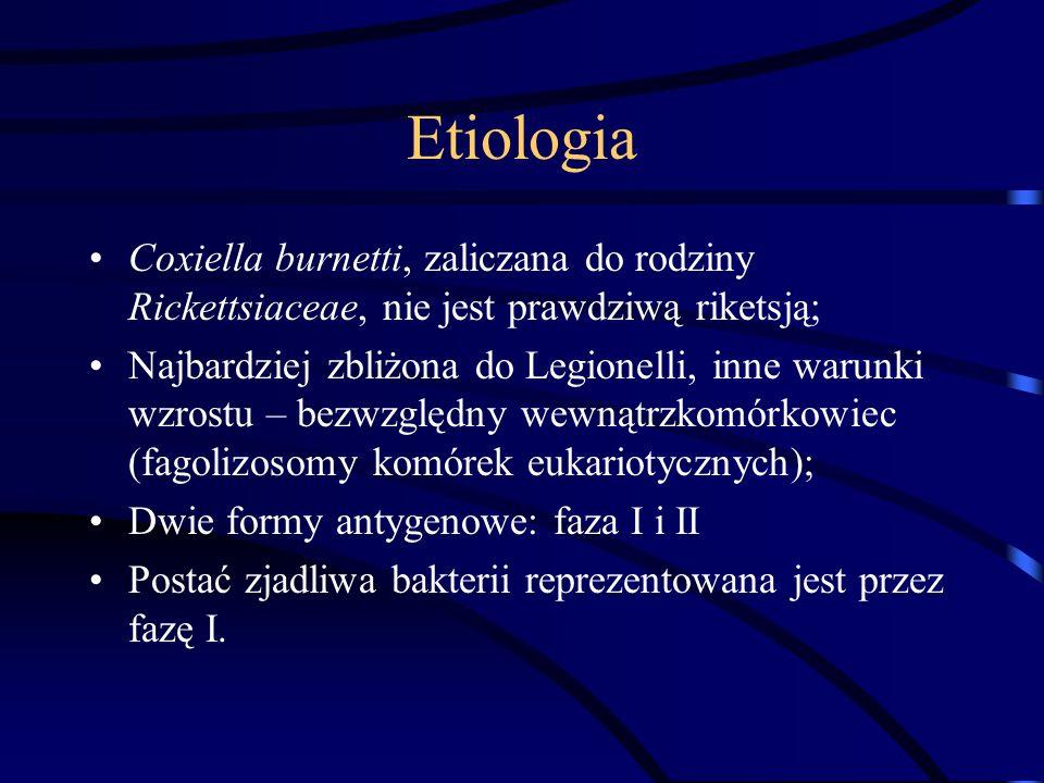 Etiologia Coxiella burnetti, zaliczana do rodziny Rickettsiaceae, nie jest prawdziwą riketsją; Najbardziej zbliżona do Legionelli, inne warunki wzrost