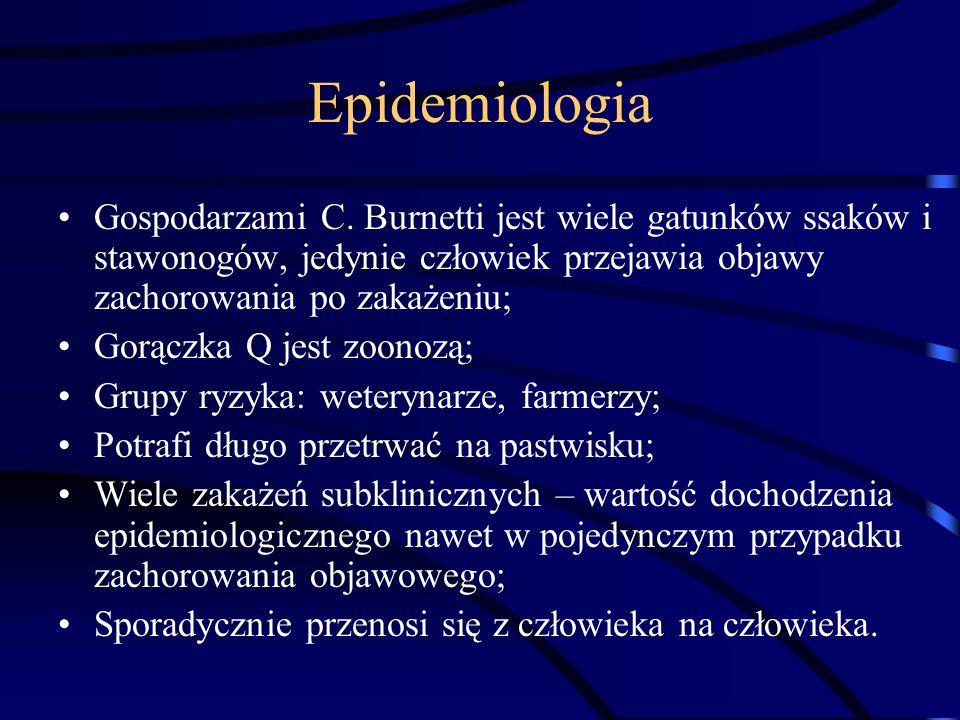 Epidemiologia Gospodarzami C. Burnetti jest wiele gatunków ssaków i stawonogów, jedynie człowiek przejawia objawy zachorowania po zakażeniu; Gorączka