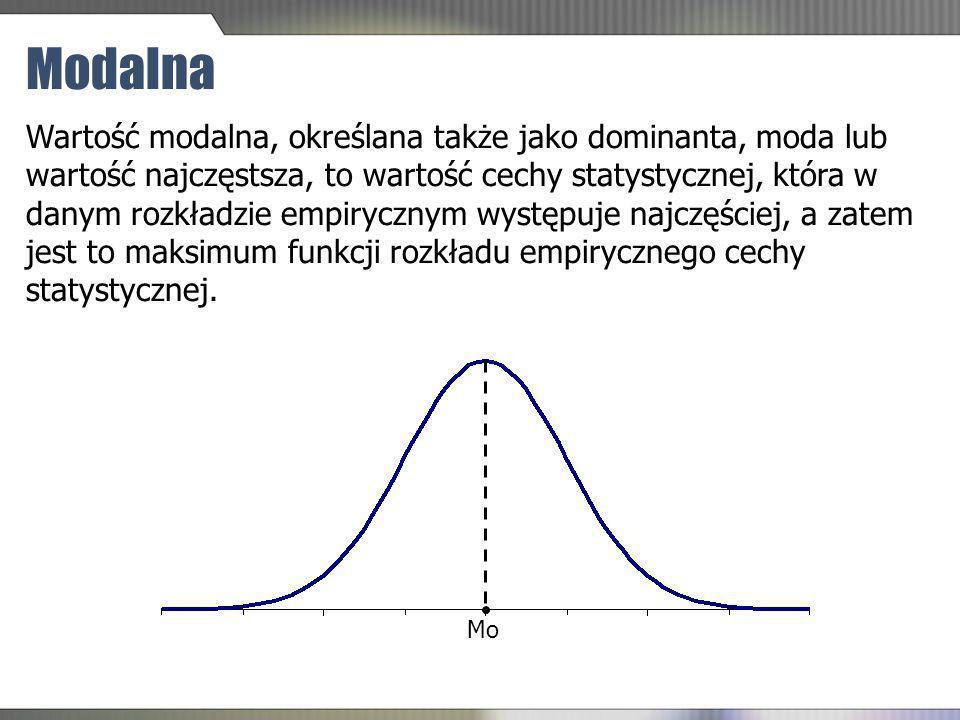 Modalna Wartość modalna, określana także jako dominanta, moda lub wartość najczęstsza, to wartość cechy statystycznej, która w danym rozkładzie empiry