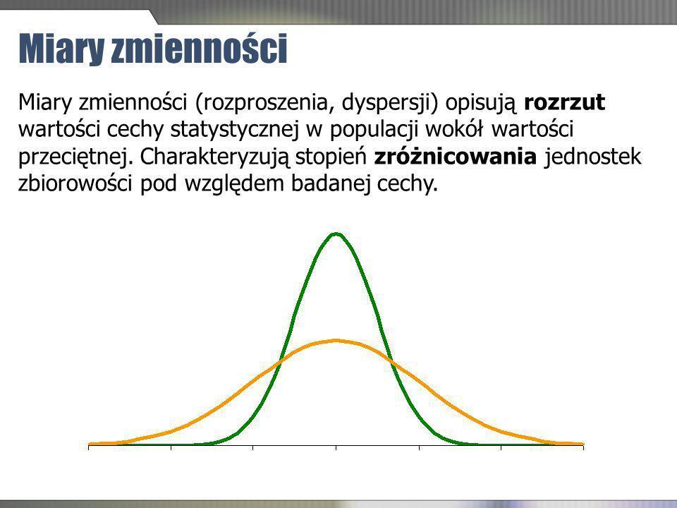 Miary zmienności (rozproszenia, dyspersji) opisują rozrzut wartości cechy statystycznej w populacji wokół wartości przeciętnej. Charakteryzują stopień