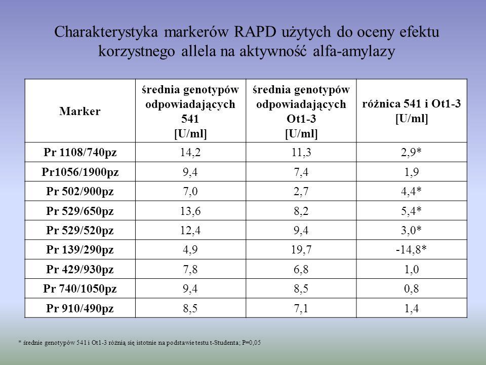 Charakterystyka markerów RAPD użytych do oceny efektu korzystnego allela na aktywność alfa-amylazy * średnie genotypów 541 i Ot1-3 różnią się istotnie