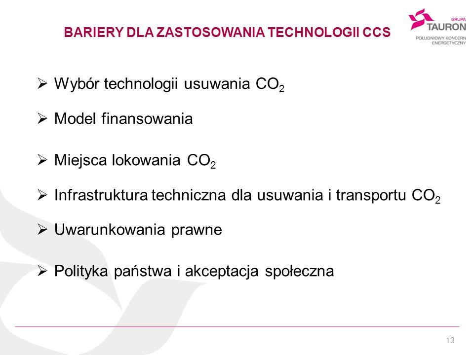 13 BARIERY DLA ZASTOSOWANIA TECHNOLOGII CCS Wybór technologii usuwania CO 2 Model finansowania Miejsca lokowania CO 2 Infrastruktura techniczna dla us