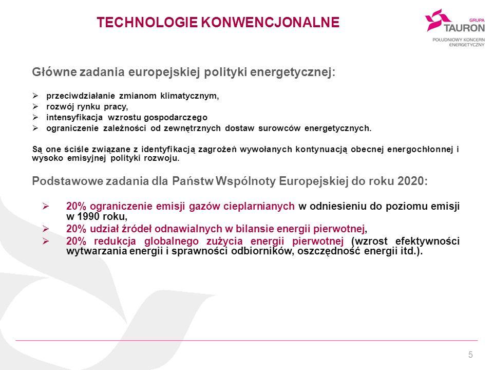 5 TECHNOLOGIE KONWENCJONALNE Główne zadania europejskiej polityki energetycznej: przeciwdziałanie zmianom klimatycznym, rozwój rynku pracy, intensyfik