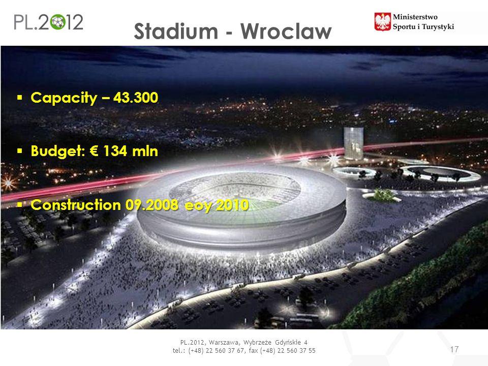 Stadium - Wroclaw 17 PL.2012, Warszawa, Wybrzeże Gdyńskie 4 tel.: (+48) 22 560 37 67, fax (+48) 22 560 37 55 Capacity – 43.300 Capacity – 43.300 Budge