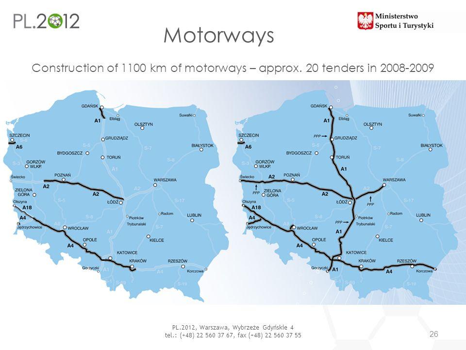 Motorways 26 PL.2012, Warszawa, Wybrzeże Gdyńskie 4 tel.: (+48) 22 560 37 67, fax (+48) 22 560 37 55 Construction of 1100 km of motorways – approx. 20