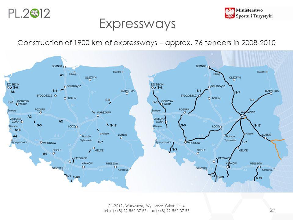Expressways 27 PL.2012, Warszawa, Wybrzeże Gdyńskie 4 tel.: (+48) 22 560 37 67, fax (+48) 22 560 37 55 Construction of 1900 km of expressways – approx