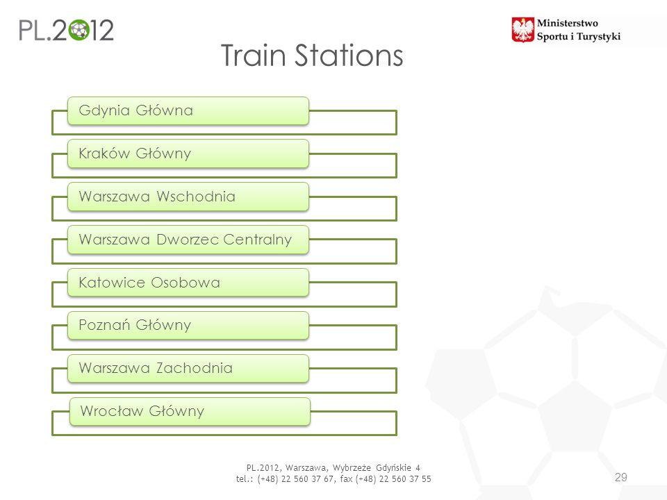 Train Stations 29 PL.2012, Warszawa, Wybrzeże Gdyńskie 4 tel.: (+48) 22 560 37 67, fax (+48) 22 560 37 55 Gdynia GłównaKraków GłównyWarszawa Wschodnia