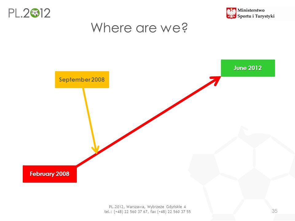 Where are we? 35 PL.2012, Warszawa, Wybrzeże Gdyńskie 4 tel.: (+48) 22 560 37 67, fax (+48) 22 560 37 55 February 2008 June 2012 September 2008