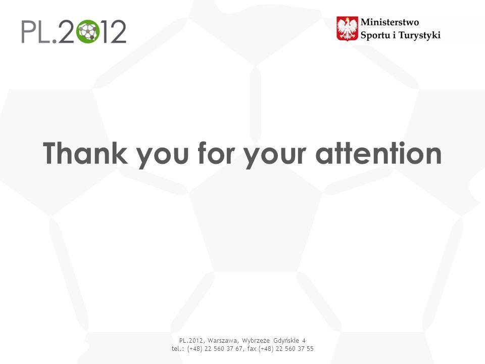 Thank you for your attention PL.2012, Warszawa, Wybrzeże Gdyńskie 4 tel.: (+48) 22 560 37 67, fax (+48) 22 560 37 55