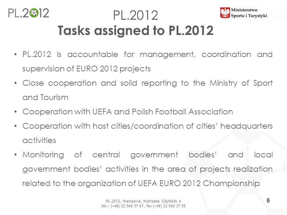 PL.2012 Tasks assigned to PL.2012 PL.2012, Warszawa, Wybrzeże Gdyńskie 4 tel.: (+48) 22 560 37 67, fax (+48) 22 560 37 55 6 PL.2012 is accountable for